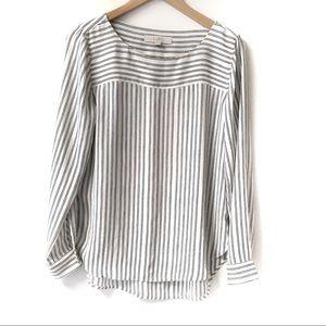 LOFT white with black vertical stripes blouse Sm